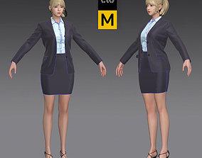 Business Woman in a grey suit Marvelous Designer 3D