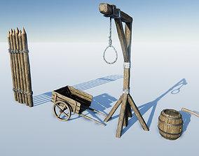 Medieval Props Set 3D model realtime