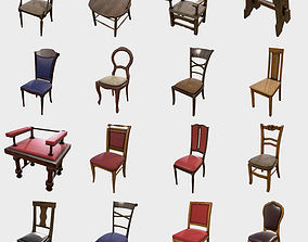 Low Poly PBR Chair Collection 3D asset realtime