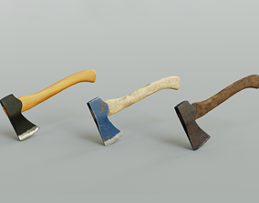 3 modern realistic models of axes in low and high 3D asset