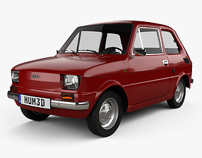 3D model Fiat 126 with HQ interior 1976