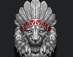 Native lion open mouth 3D printable model