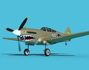 Curtiss P-40B Warhawk V10 USAAF 3D model
