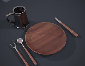 3D model Medieval Simple Tableware Set