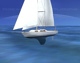 3D model 30 Foot Cutter Rigged Sloop V16 boat