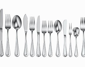3D Table Cutlery 17 Items Set