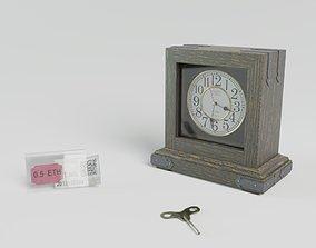 3D asset Table clock high poly detailed clock face