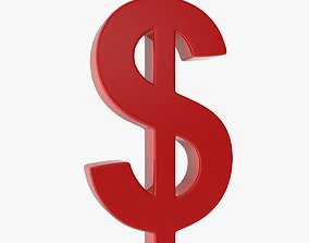 Dollar Sign 3D model game-ready