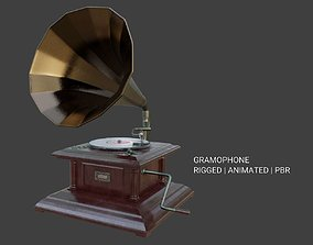 3D model animated Gramophone Phonograph