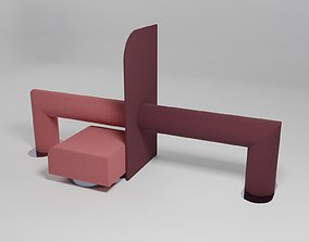 3D model ROLL - Double-sided leaning rail with pouffe -