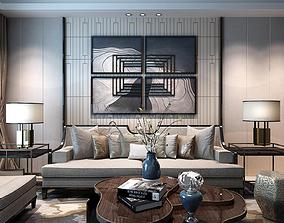 Modern design Chinese sofa combination tea table 3D