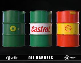 Oil Barrels 3D asset low-poly