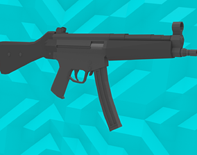 Low-Poly MP5 SMG 3D asset