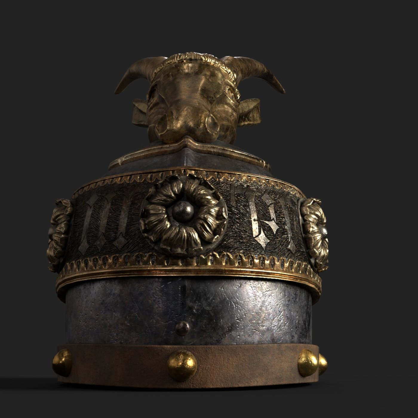 This is Medieval Helmet with Goat Design