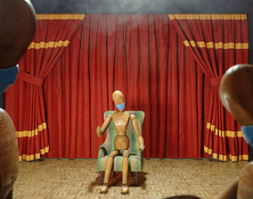 Theater of many actors 3D asset rigged