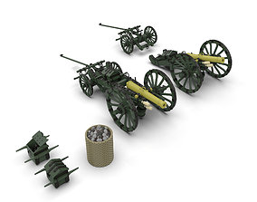 3D model SIX LBS FRENCH GUN lowpoly