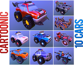 Cartoonic cars pack 3D model rigged
