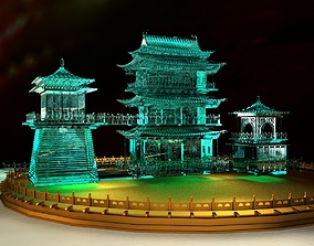 3D model Chinese ancient icy sculpture Pavilion