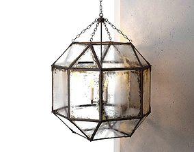 Parisian Octagonal Antiqued Mirror Glass Pendant 3D model