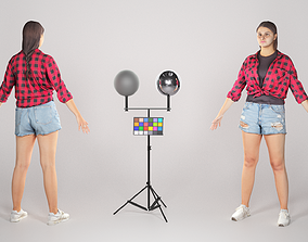 3D model Stylish woman in a plaid shirt ready for 1