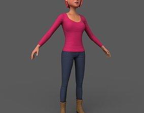Cartoony Female Character 3D model