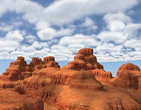 3D model Canyon landscape with cloudy sky