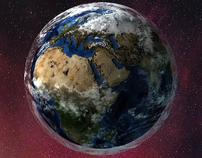 earth with separated clouds 3D