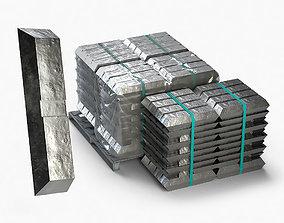 3D model Aluminium Zinc Nickel Silver Titan Steel ingot