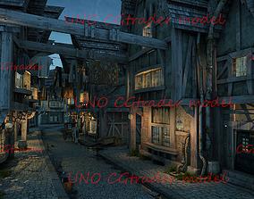 3D model Ancient village night