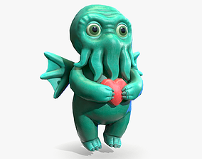 Cthulhu toy with heart 3D asset