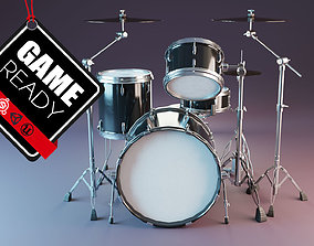 Drum Set 3D model game-ready