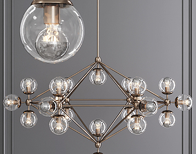 Modo 6 Sided Chandelier 21 Globes Bronze and Clear 3D