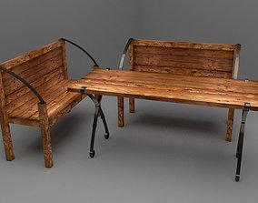 3D model garden chair table bahce sandalye masa