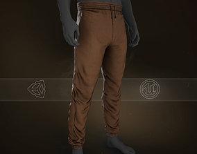 3D model Brown Stonewashed Jogger Pants