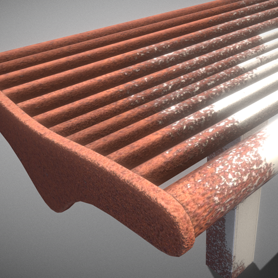 Bench 5 Low-Poly Rusted Version 2