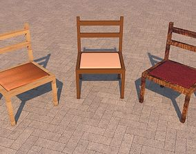 Chairs 3D asset low-poly