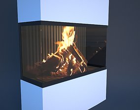 3D model fireplace animation