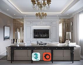 Interior Living Room Neoclassic 02 3D model