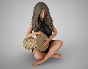 3D printable model Woman Rhythm Solo with Goblet Drum