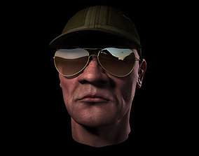 head with cap and sunglass 3D model realtime