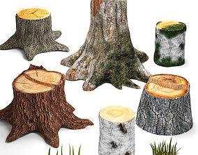 Tree stumps collection 3D model