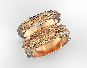 3D print model Wood textured wedding bands