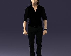3D Man in black clothes with a watch 0201
