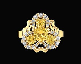 744 Flower diamond ring 3D printable model