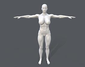 3D asset Middle poly female basemesh - 1