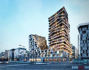 Residential high rise building in Paris 3D