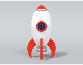3D model VR / AR ready Space Rocket 1