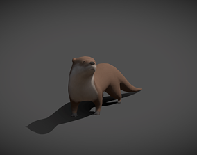 3D model Low poly Otter - Idle Animated