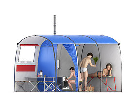 3D Tourist tent big - bath
