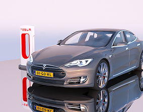 Tesla Model S and Supercharger station